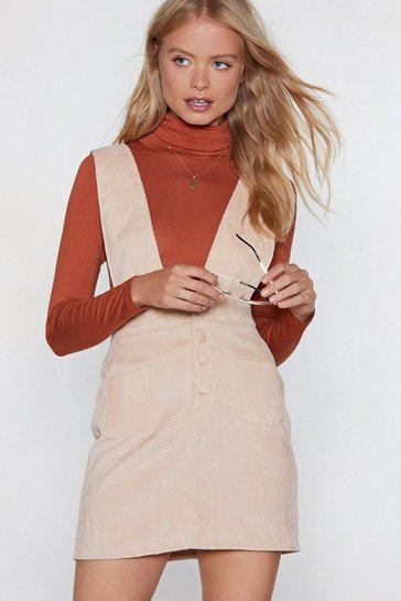 Womens Sand Over the Top Corduroy Pinafore Dress