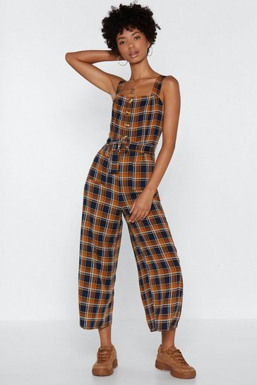 Womens Navy Button or Nothing Check Jumpsuit