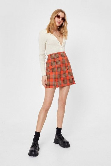 Orange Check Double Slit Pencil Mini Skirt