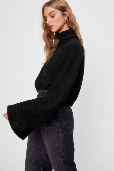 Black Call Knit a Day Oversized Sweater