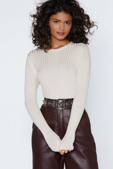 Ecru Ribbed Knit Sweater with Crew Neckline
