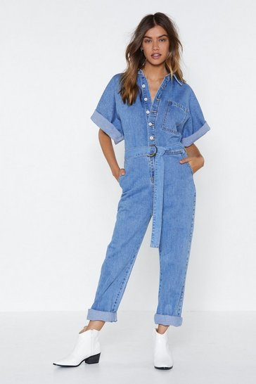 Light blue The Complete Package Denim Boilersuit