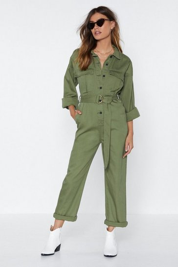 Khaki Girl Utility Fine Belted Boilersuit