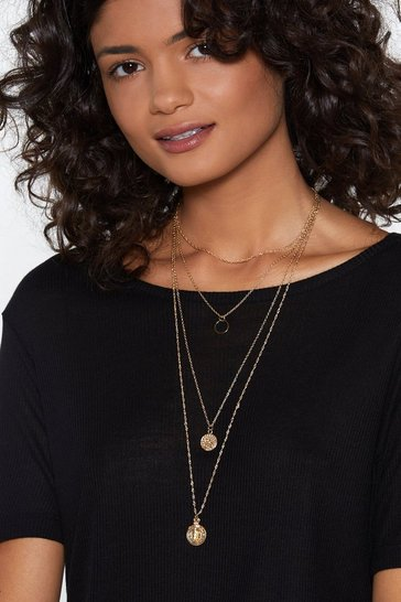 Womens Gold Came Through Drippin' Layered Necklace