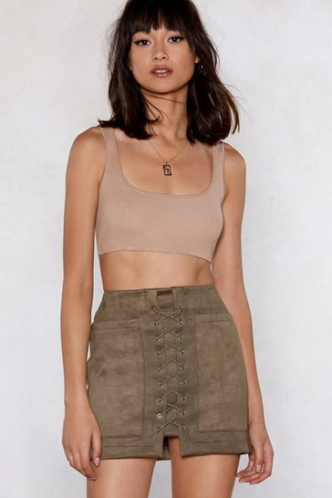 Womens Khaki Pull a Fast One Lace-Up Skirt