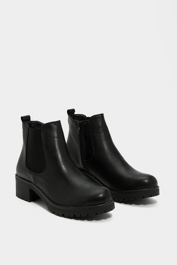 Black Low Block Heel Chelsea Boot