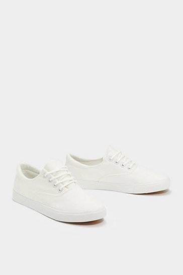 Womens White Lace-Up to the Music Canvas Sneaker