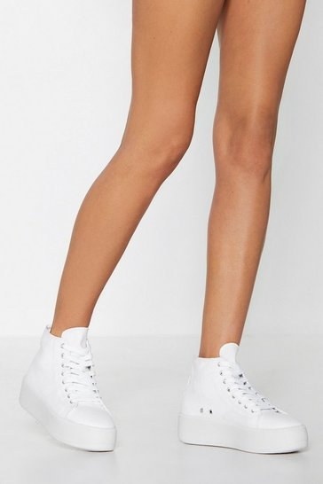 White Big City Girl Platform Trainers
