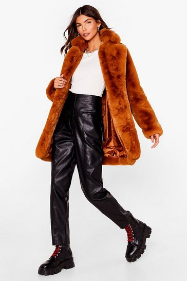Womens Camel Surfin' Bird Faux Fur Coat