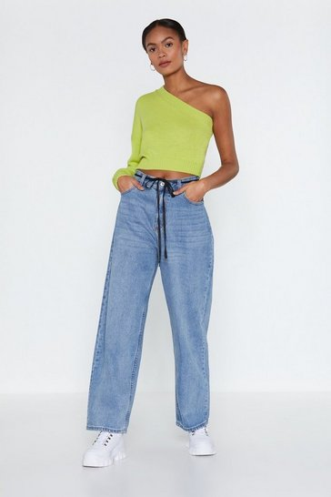 Womens Blue Gimme Space Wide-Leg Jeans