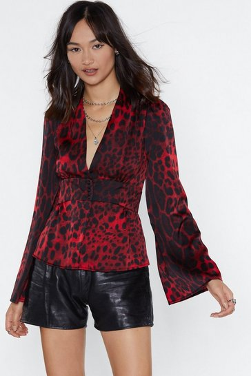 Womens Red Deeper and Down Leopard Blouse