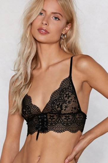 Womens Black Lace Do It Triangle Bralette