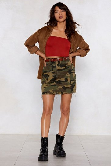 Womens Khaki Bite the Bullet Camo Skirt