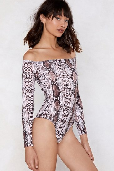 Womens Cream Talking Snake Off-the-Shoulder Bodysuit