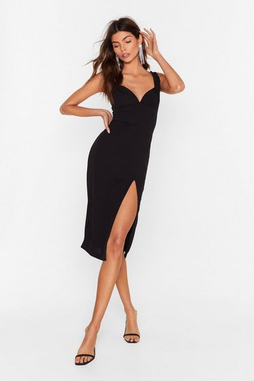 Black Plunge Down Midi Dress