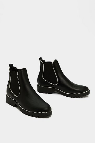 Black Studded Faux Leather Flat Chelsea Boots