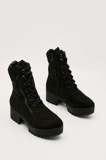 Black Faux Suede Lace Up Ankle Boot