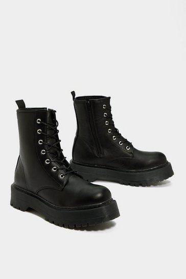 Womens Black Wise Up Platform Boot