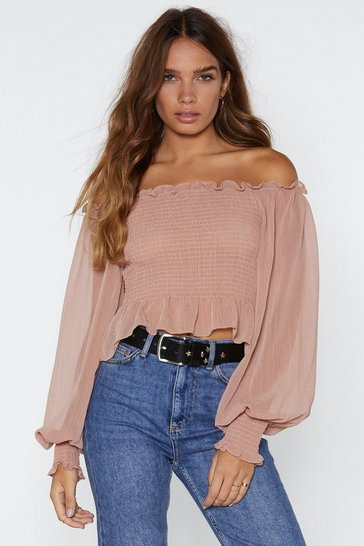 Womens Taupe Who Said Romance is Dead Off-the-Shoulder Top