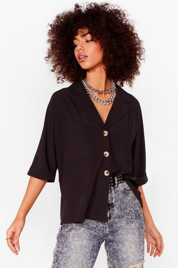 Black V-Neckline Relaxed Shirt with Tortoiseshell Buttons