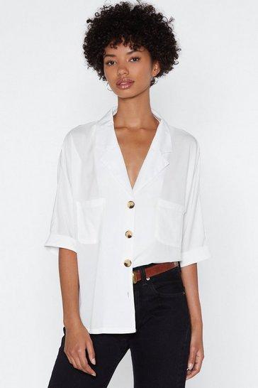 White V-Neckline Relaxed Shirt with Tortoiseshell Buttons