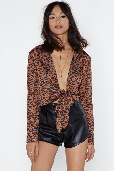 Orange Print Print Plunging Leopard Blouse