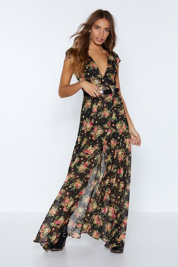 Womens Black Tell 'Em Where to Grow Floral Dress