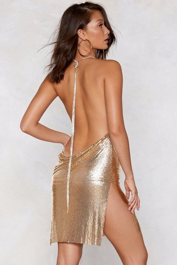 Gold Chainmail Cowl Neck Mini Dress