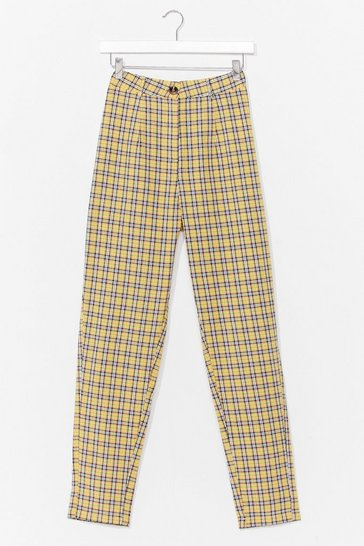 Yellow Check Tapered Trousers
