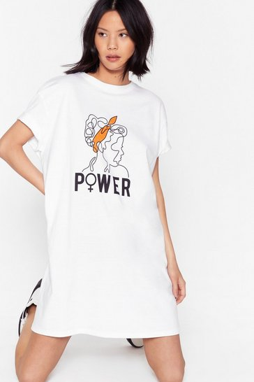 Womens White Girl Power Tee Dress