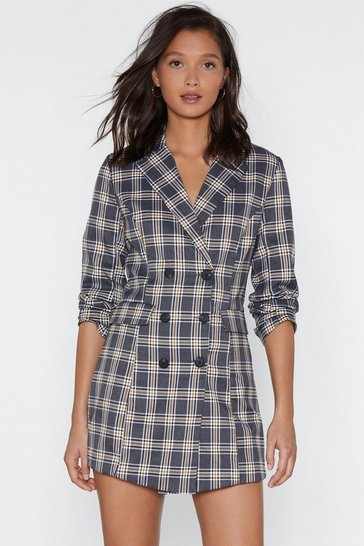 Womens Grey Check Her Go Blazer Dress