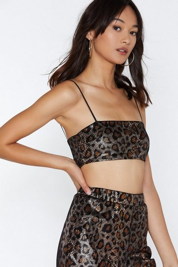 Gold Tail Whip Leopard Crop Top