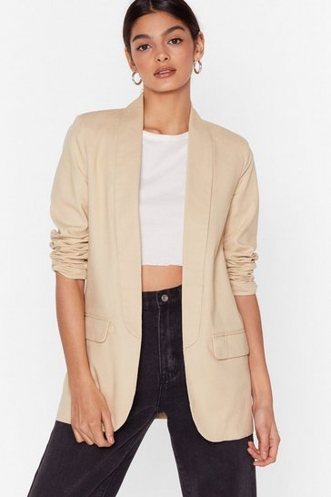 Cream Keep Out of It Linen Blazer