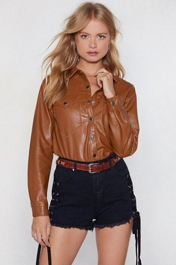 Womens Tan The West of Luck Western Shirt