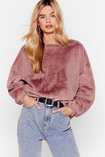 Nude I'm Here Faux Fur You Relaxed Sweatshirt