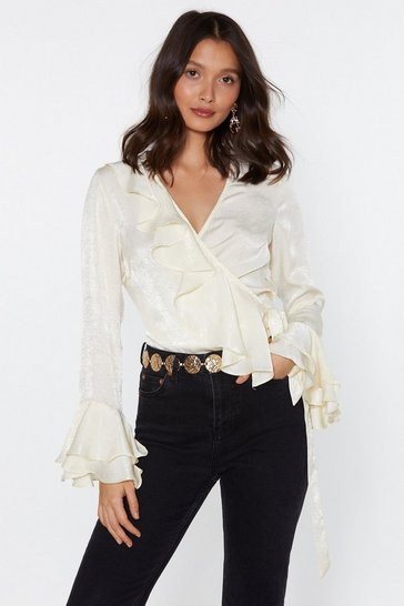 Womens Cream I Like It Ruffle Wrap Top