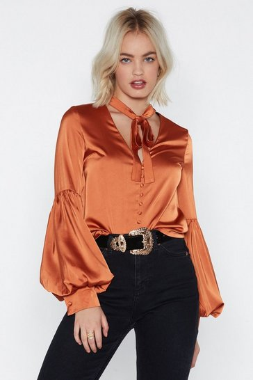 Womens Ginger Here We Bow Again Satin Blouse