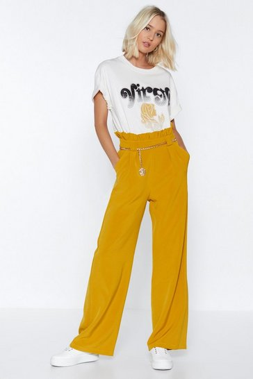 Womens Mustard Wide Open Road Paperbag Trousers