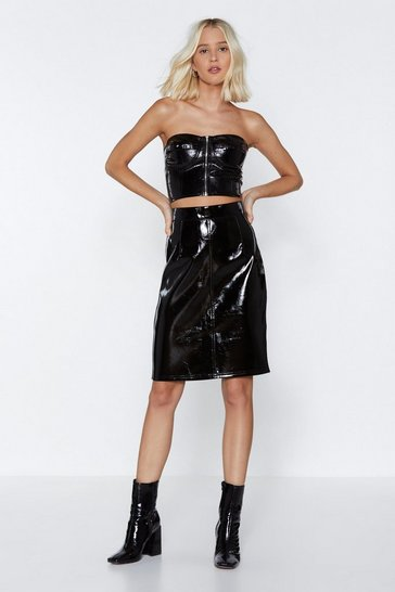 Womens Black Pour Me a Vinyl Zip Skirt