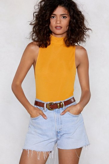 Womens Mustard Up to My Neck Ribbed Bodysuit