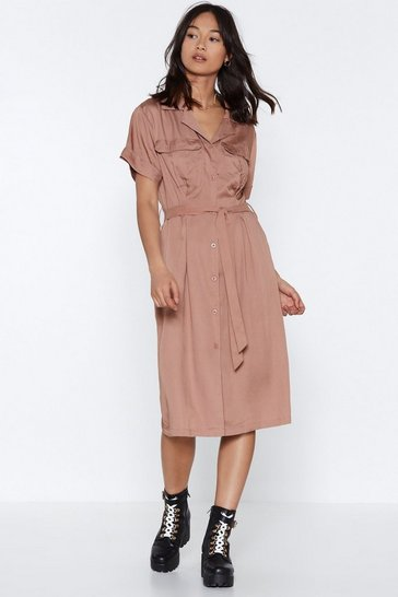 Womens Rose It's Worth a Tie Utility Dress