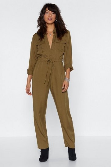 Womens Khaki Drawn Together Utility Jumpsuit