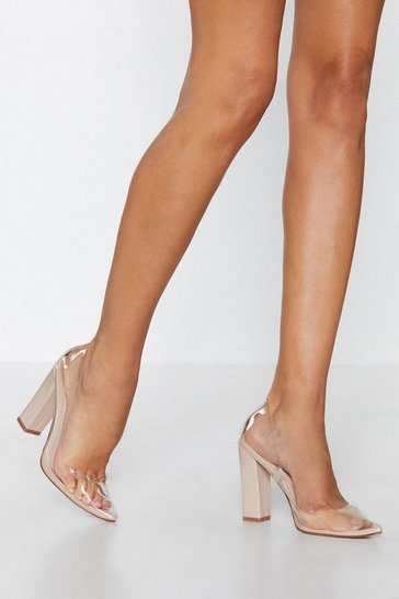 Womens Nude Stand Clear Pointed Heel