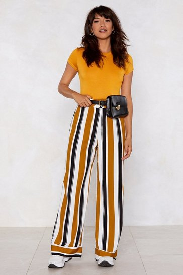 Womens Tan Stripe Place Wide-Leg Trousers