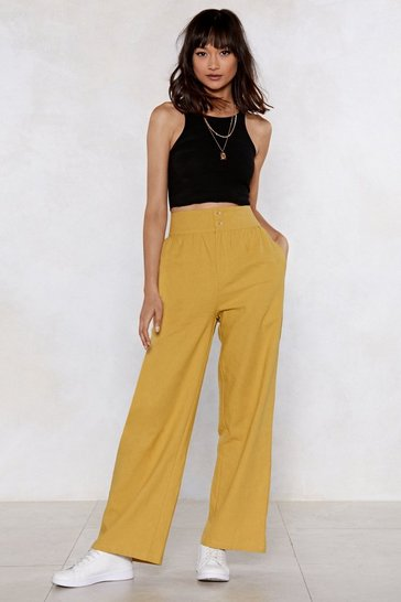Womens Mustard Dip It Flow Wide-Leg Trousers