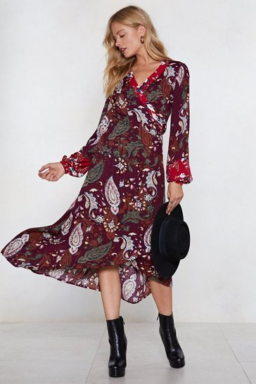 Womens Plum You Send Me Paisley Midi Dress