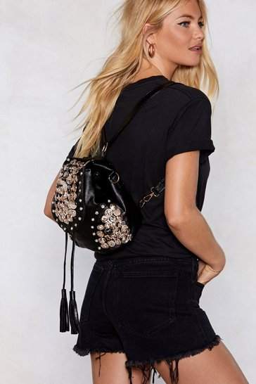 Womens Black WANT Button Another Level Embellished Backpack