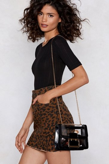 Black Patent Faux Leather Shell Shoulder Bag