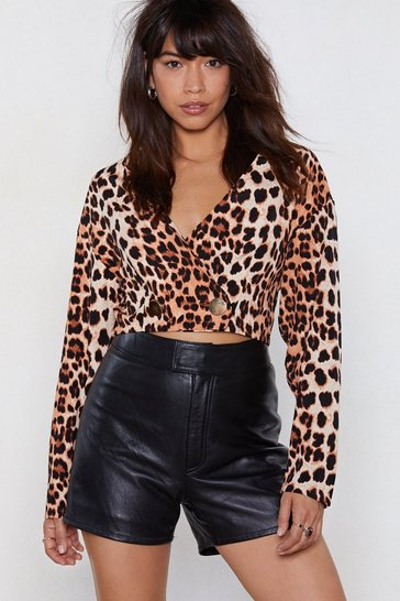 Womens Ginger I A-paw-logize Leopard Crop Top