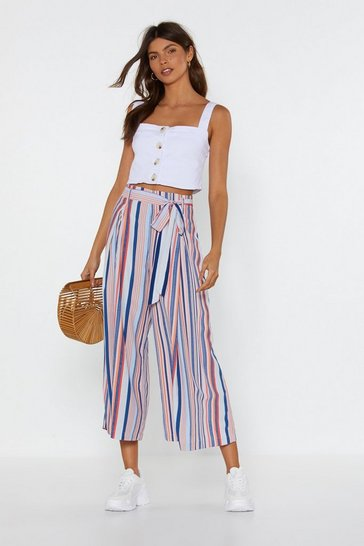 Womens Blue Mind Your Manners Striped Culottes